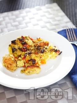 Пуешко месо с ориз и зеленчуци - снимка на рецептата